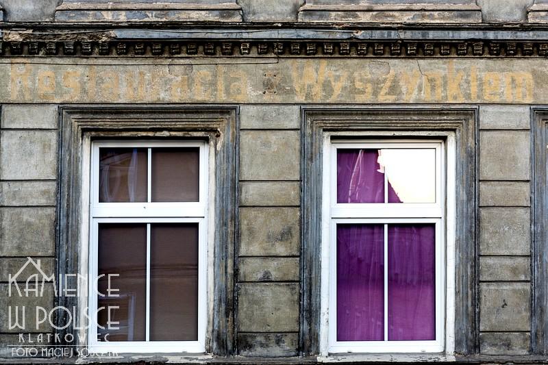 Sulechów. Stary napis na kamienicy. Restauracja z wyszynkiem.