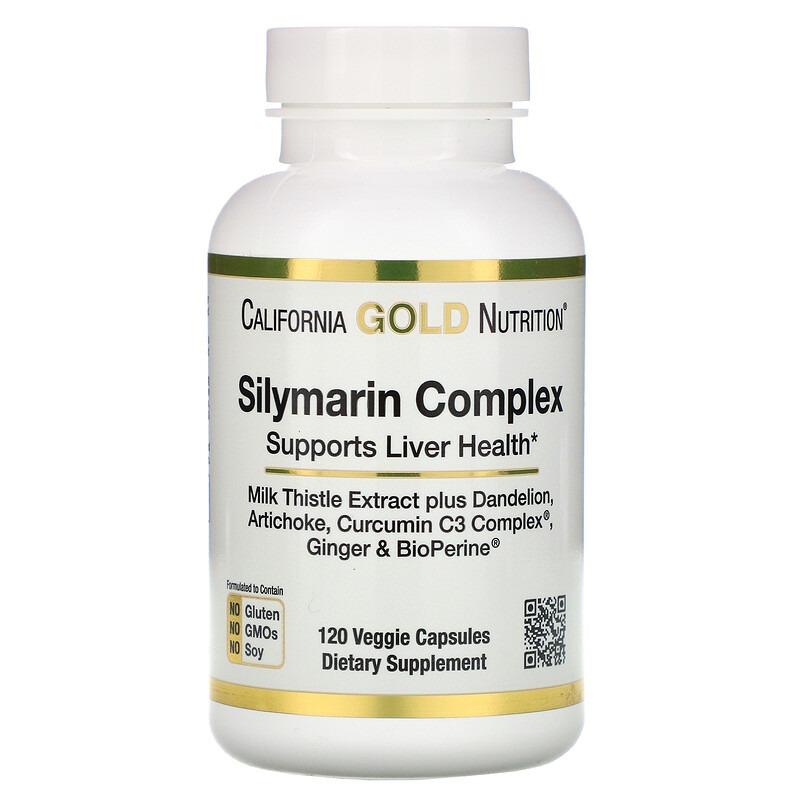 California Gold Nutrition, силимариновый комплекс, здоровье печени, расторопша, куркумин, артишок, одуванчик, имбирь, черный перец, 300 мг, 120 вегетарианских капсул