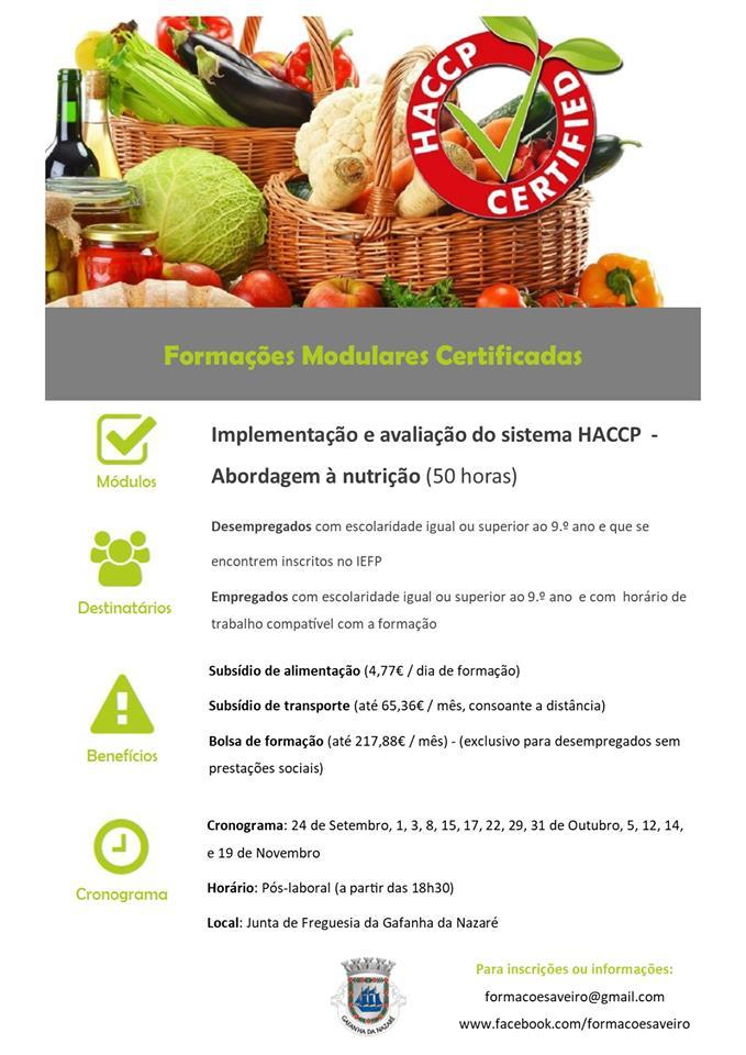 Curso financiado de Implementação e avaliação do sistema HACCP (Abordagem à nutrição) – Gafanha da Nazaré