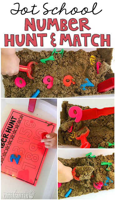 We LOVE this number hunt sensory bin. Great for tot school, preschool, or even kindergarten!