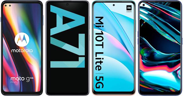 Motorola Moto G 5G Plus vs Samsung Galaxy A71 vs Xiaomi Mi 10T Lite 5G vs Realme 7 Pro
