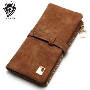 Women Wallets Drawstring Nubuck Leather Zipper Wallet Long Design Purse
