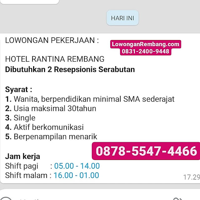 Lowongan Kerja 2 Resepsionis Serabutan Hotel Rantina Rembang