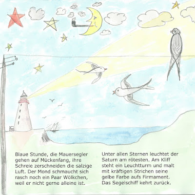 Sommerbild mit Meer, Leuchtturm und Schwalben