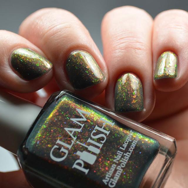 gray nail polish with shimmer and flakies