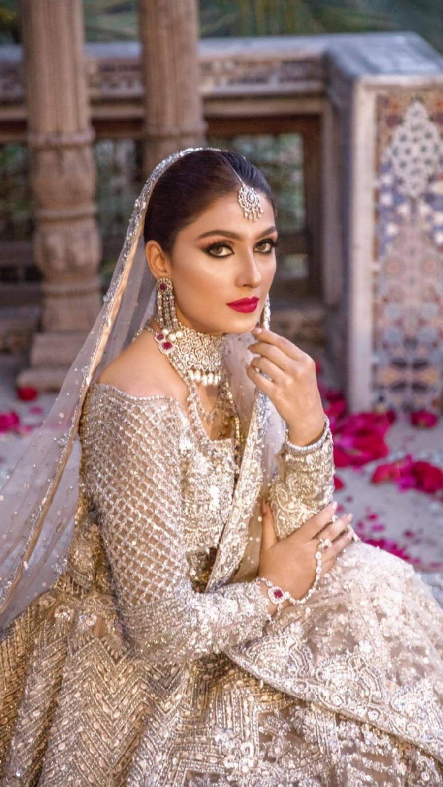 Pastel Dress with Silver Jewelry and Dark Red Lipstick | Ayeza Khan New Shoot is a Major Bridal Goal