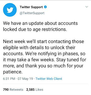 Twitter unlocking locked accounts