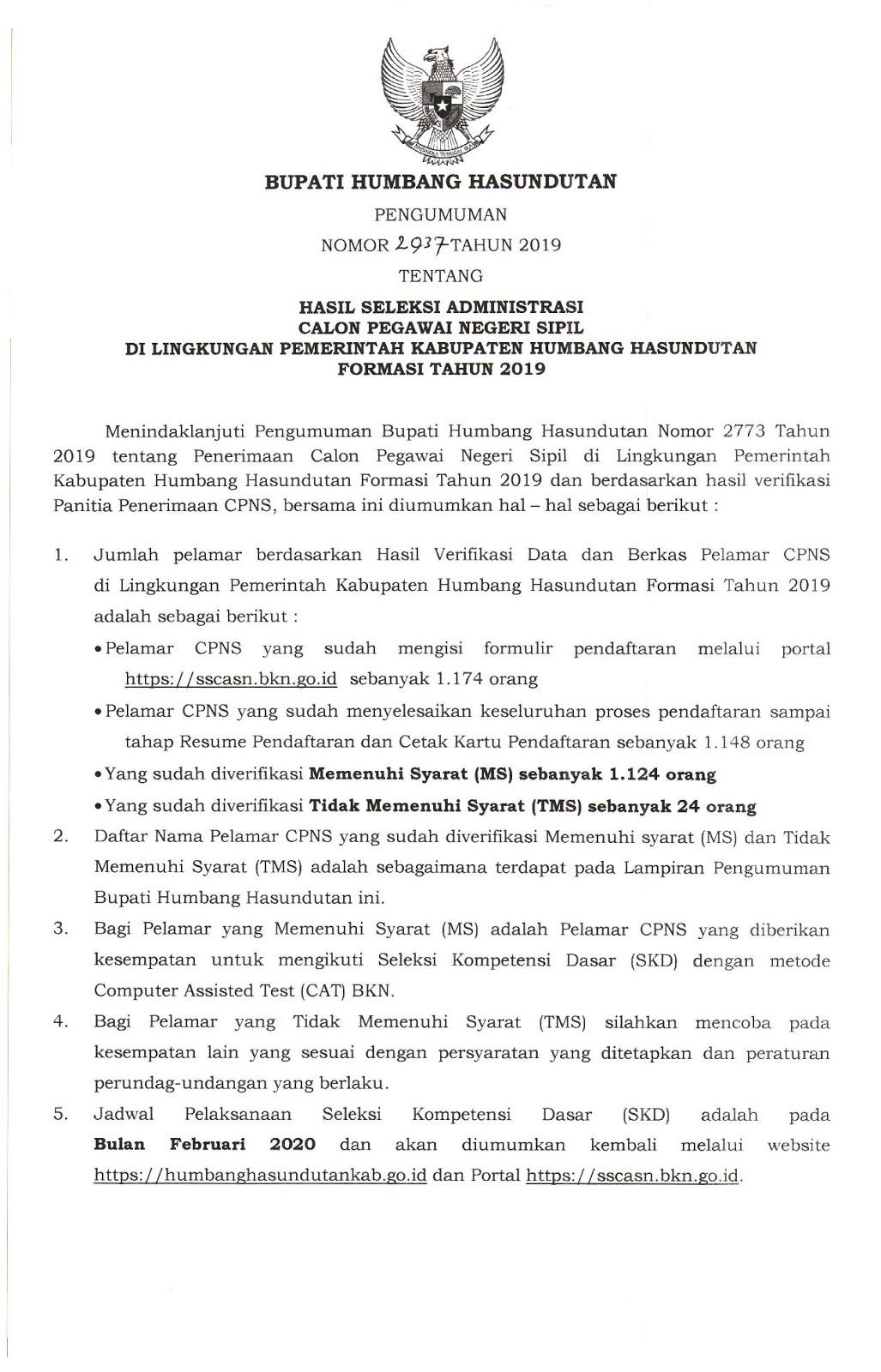 pengumuman hasil CPNS 2019