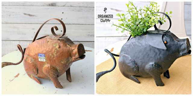 Metal Pig Watering Can Farmhouse Style Upcycle