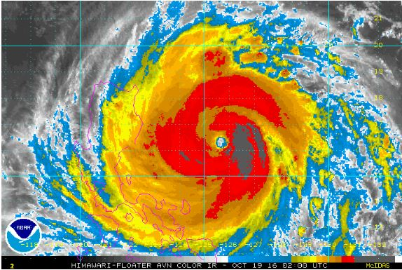 Satellite image of super typhoon 'Lawin' approaching the Philippines.