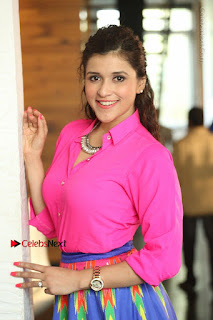 Actress Mannar Chopra in Pink Top and Blue Skirt at Rogue movie Interview  0139.JPG