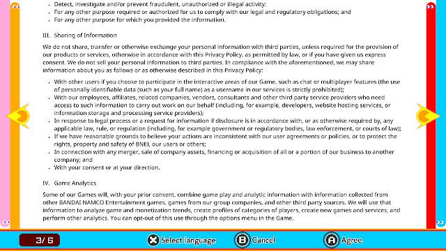 PAC-MAN 99 Namco Bandai Privacy Policy Game Analytics
