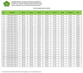 Jadwal Imsakiyah & Buka Puasa Kota Depok 2020 M / 1441 H (Kalender Puasa Ramadhan 1441 Hijriyah)