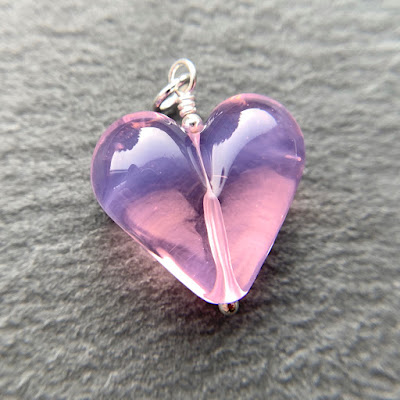 Handmade lampwork glass heart bead pendant by Laura Sparling made with CiM Ballerina