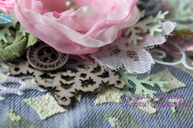 открытка, с цветами, из джинс