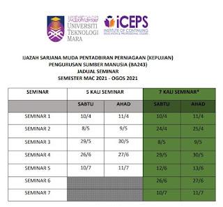 Jadual Seminar BA243