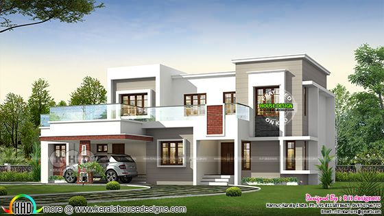 2890 square feet 4 bedroom flat roof modern home plan