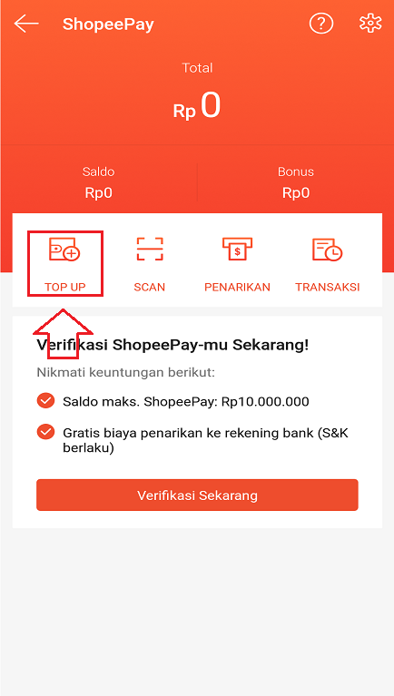 Layanan Top Up ShopeePay di Aplikasi Marketplace Shopee.