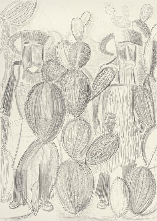 Dirk Zoete Camouflage scene 2 (cactus series), 2017-2018 pencil on paper 140 x 100 cm