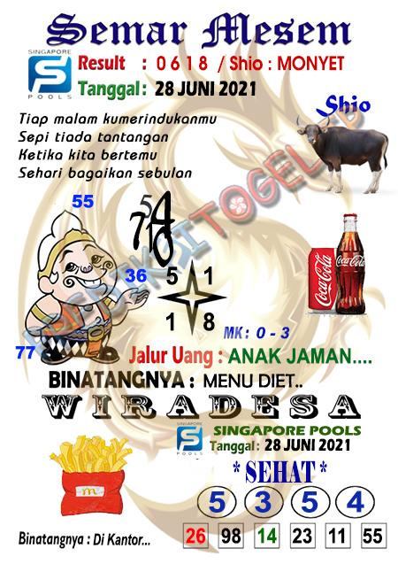 Syair Semar Mesem SGP Senin 28-06-2021