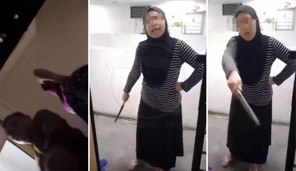 (Video) 'Aku dah tak tahan dah ni!' - Wanita mengamuk, bawa pisau & berdepan dengan jirannya yang selalu buat bising setiap hari