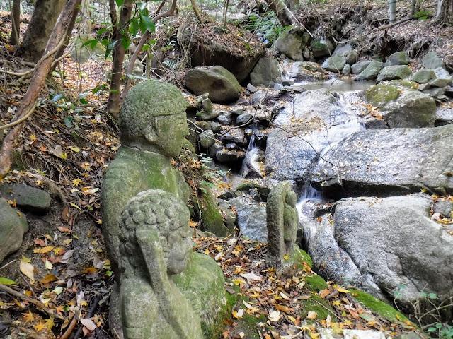 石仏と宝山寺川