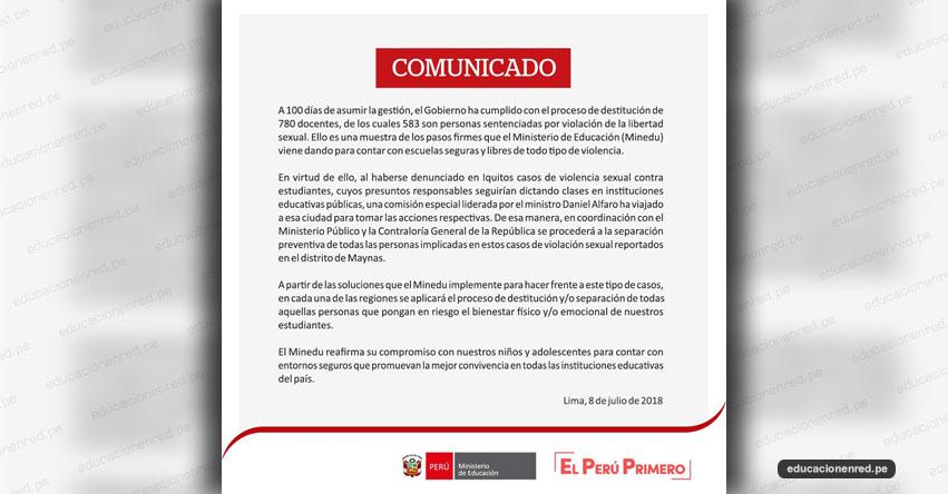 COMUNICADO MINEDU: Acciones sobre las denuncias de casos de violencia sexual en la región Loreto - www.minedu.gob.pe