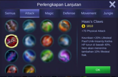 item lifesteal kimmy mobile legends