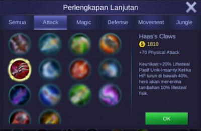 item lifesteal claude mobile legends