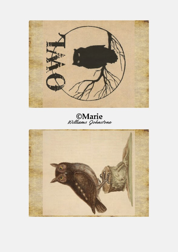 Black and Sepia Owl Birds on Antiqued Cream Background