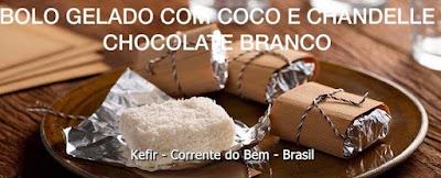 BOLO GELADO COM COCO E CHANDELLE CHOCOLATE BRANCO COM KEFIR DE LEITE