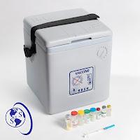Termo vacunas gris plomo Apex 2.9 litros cerrado correa negra jeringuilla logo salud y superacion eirl