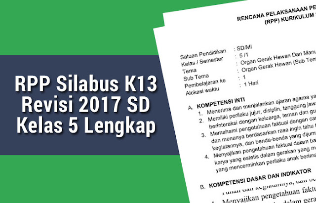 RPP Silabus K13 Revisi 2017 SD Kelas 5
