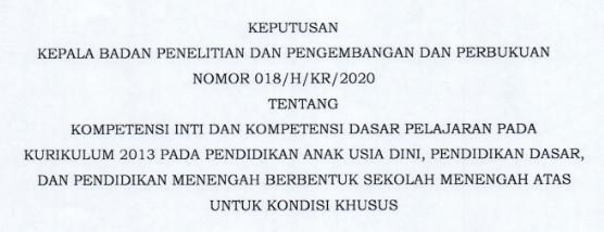 KI Dan KD K-2013 PAUD/TK, SD,SMP,SMA Dalam Kondisi Khusus