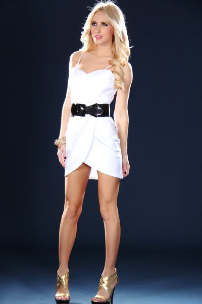 c28baf48372 WHITE SPAGHETTI STRAP BELTED TULIP SEXY MINI DRESS Stylish ...
