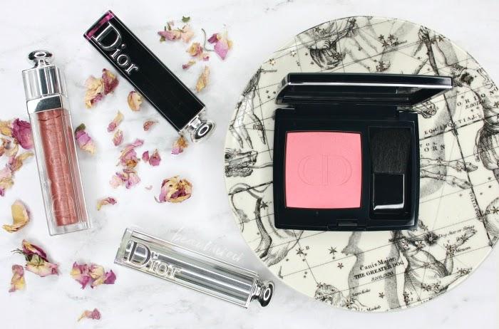flatlay dior lipstick blush high end makeup