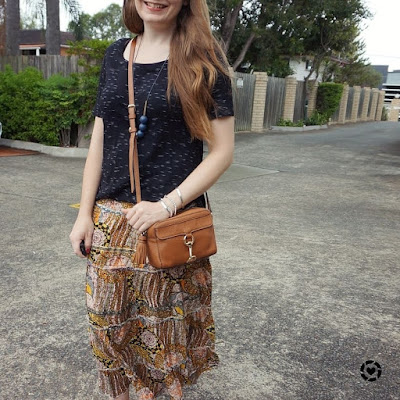 awayfromtheblue instagram summer printed maxi skirt and tee thrifted opshopped outfit with mab camera bag