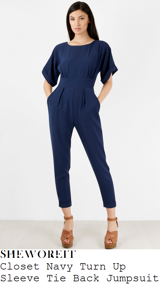 vicky-pattison-navy-blue-turn-up-sleeve-high-waisted-slim-leg-tapered-jumpsuit-loose-women