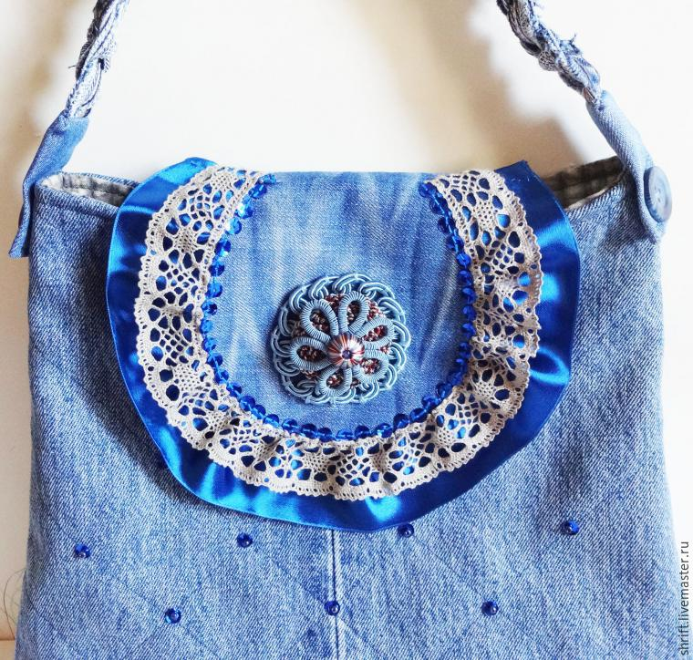 Handbag of old jeans with a strap. Pattern bags. DIY tutorial in pictures.  Сумочка из старых джинсов
