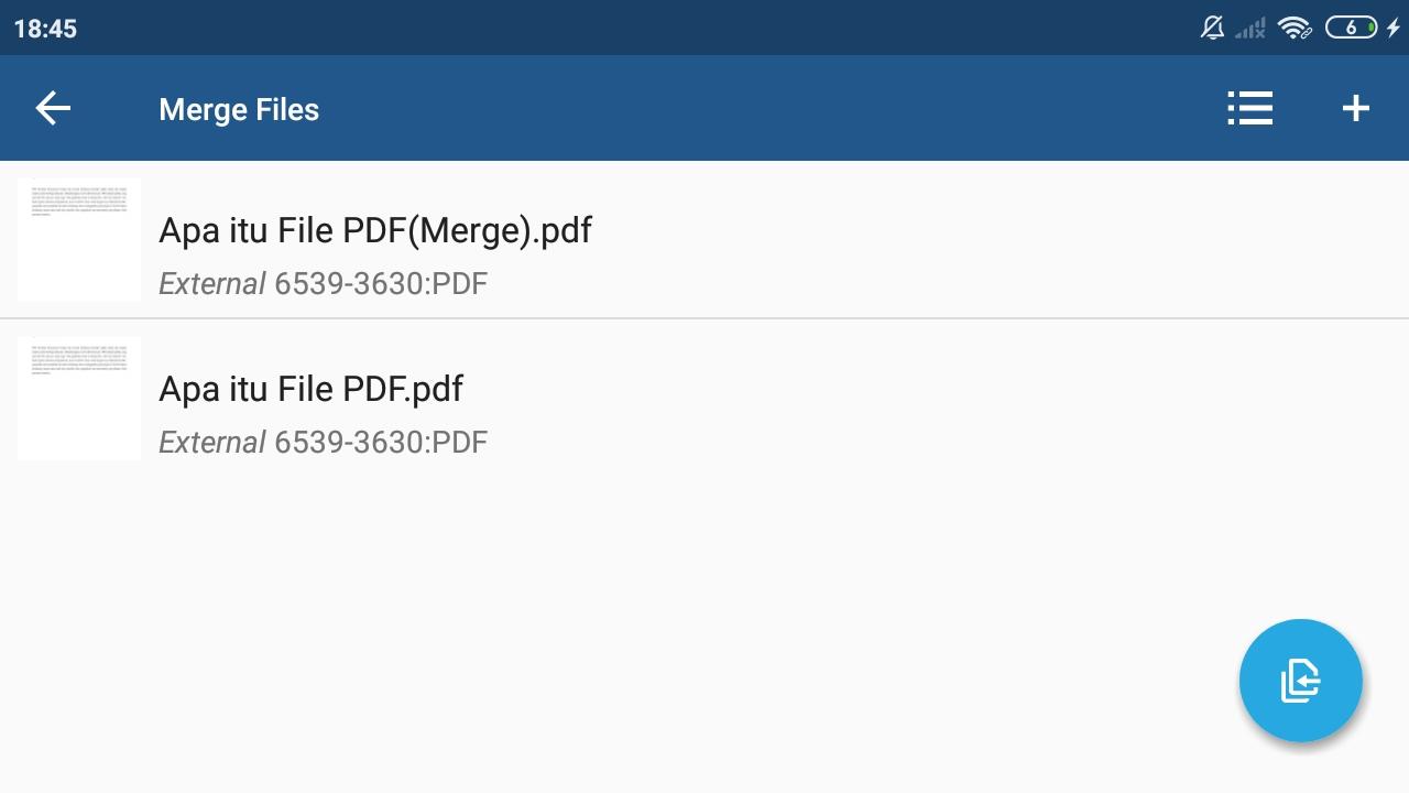 Tampilan Daftar File PDF yang Akan Digabungkan Menggunakan Aplikasi Xodo