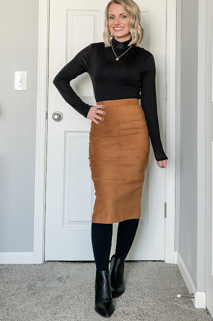 Faux suede skirt styled for winter with turtleneck
