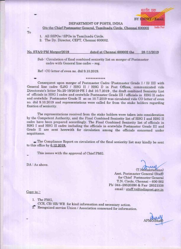 TN circle HSG draft seniority list