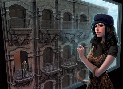 Una bonita brunette asomándose por la ventana