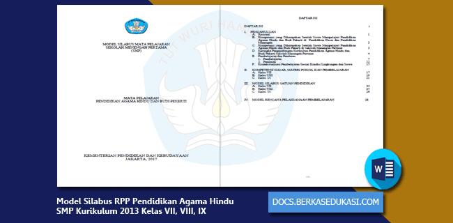 Model Silabus RPP Pendidikan Agama Hindu dan Budi Pekerti SMP Kurikulum 2013 Kelas VII, VIII, IX
