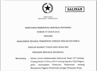 PP No 49 Tahun 2018 Tentang Manajemen PPPK, https://bloggoeroe.blogspot.com/