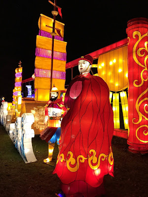 Silk road larger than life-size human figures and ship as lanterns