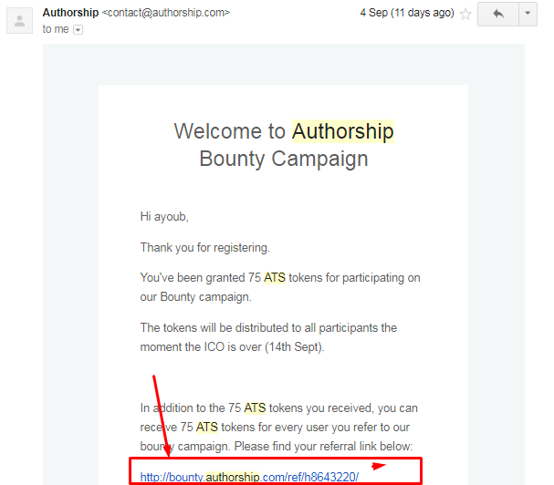 Authorship Bounty Campaign End , Withdrawal Your Free 10$ Worth Of Ethereum !