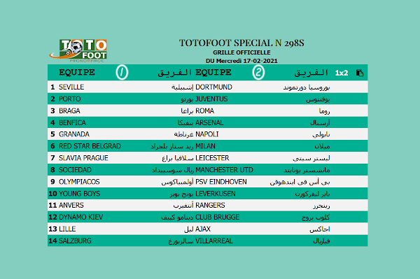 PRONOSTIC TOTOFOOT 14 Spécial N° 298S
