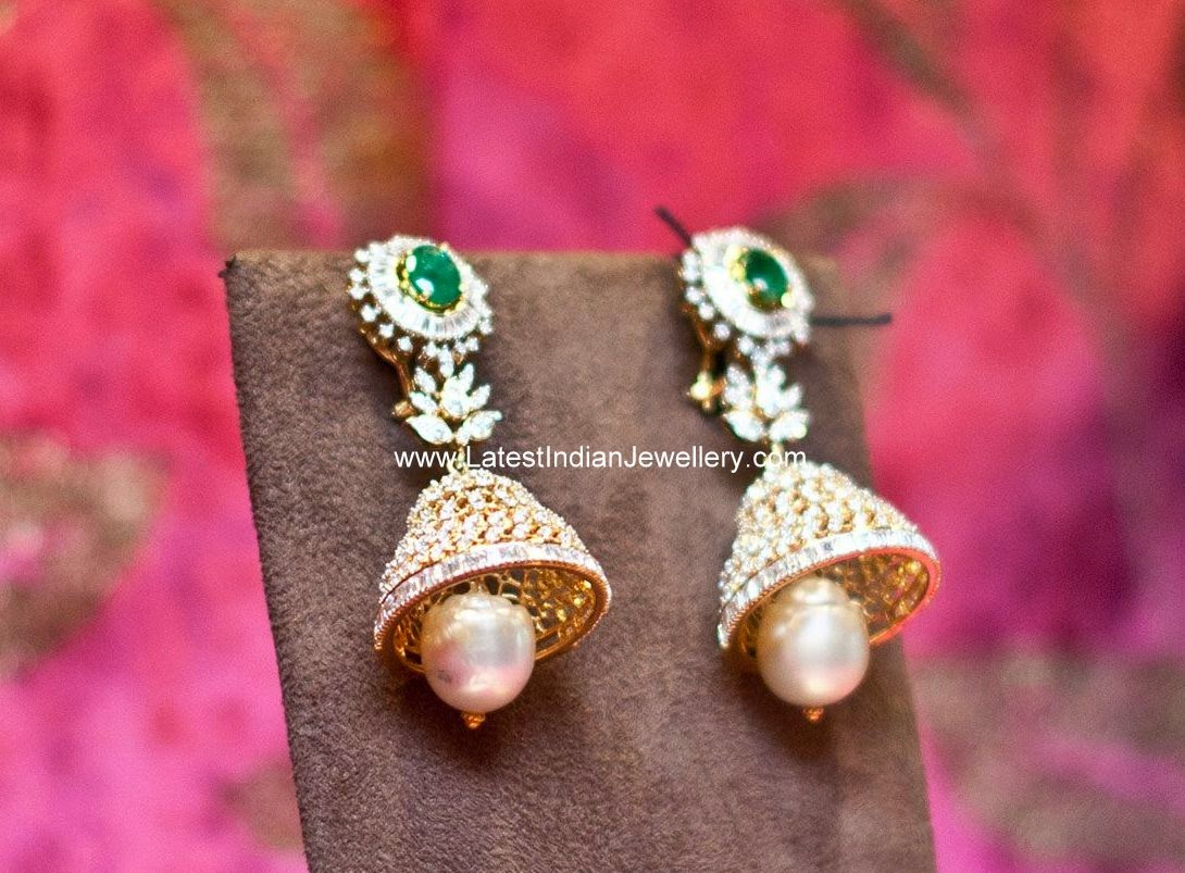 Exquisite Diamond Jhumkis
