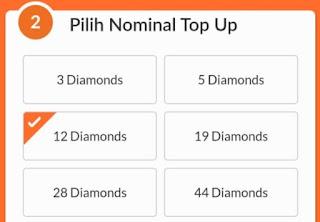 Nominal pembelian diamond